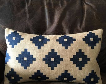 Graphic squares print indigo burlap (hessian) pillow cushion cover - wales welsh moroccan inspired