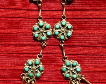 Long Zuni Sterling Silver Snake Eyes Turquoise Sunburst / Flower Earrings