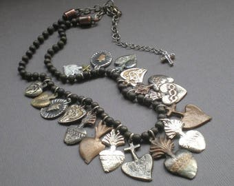 ON SALE Sacred Heart Milagro Necklace... Chic Spanish Statement Decklace