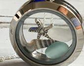 Sea Glass Locket Bridesmaid Jewelry, Sea Glass Necklace, Friendship Two Styles