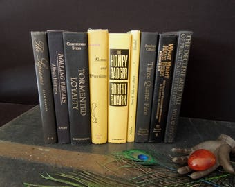 Book Collection Yellow Black Mixed Book Stack - Colorful Bookshelf Books For Decor Vintage - Wedding Centerpiece Decoration