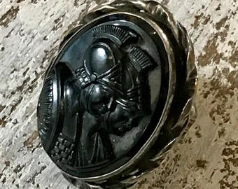 CIJ SALE Christmas JULY Stunning Georgian Victorian Carved Black Onyx Roman Soldier Cameo Sterling Silver Antique Ring