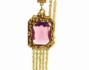 CIJ SALE Christmas JULY Beautiful Goldite Designer Purple Open Back Crystal Gold Brass Fringe Laviler Vintage necklace