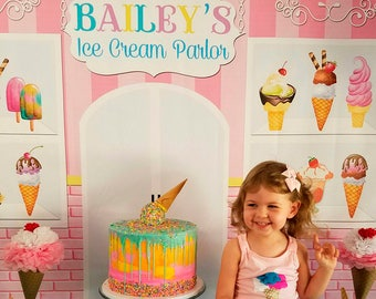 Ice Cream Backdrop - Printed Backdrop - Party Background - Ice Cream Party - Party Banner