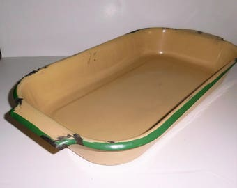 Rustic Tan and Green Enamelware Handled Pan 1930's Cottage Kitchen