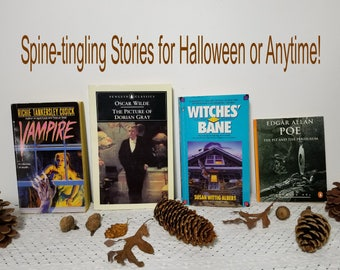 Vintage 1980's, 1990's Lot of 4 Paperback Books. Mysteries, Murders, Classics. Spooky, Scary, October Halloween Reads. Poe, Wilde etc.
