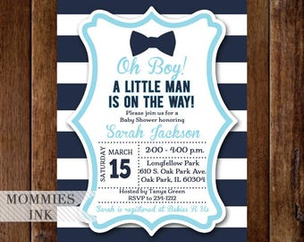 Bow Tie Baby Shower Invitation, Little Man Baby Shower Invitation, Boy Shower Invite, Bowtie Baby Shower Invitation, Navy Blue Shower Invite