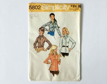 simplicity 5802 shirt and ascot 70s sewing pattern