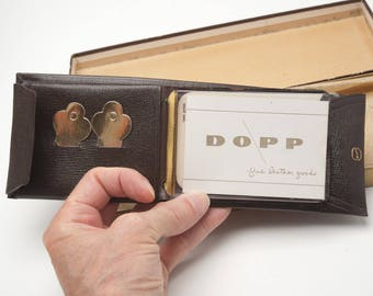 """Vintage 1950's DOPP Leather 9"""" X 3.25 Brown Wallet Hand Stained Hide New Old Stock MCM Mad Men"""