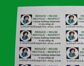 30 PERSONALIZED Go Green Labels. 1 Sheet of White 1-Inch Labels. 5309