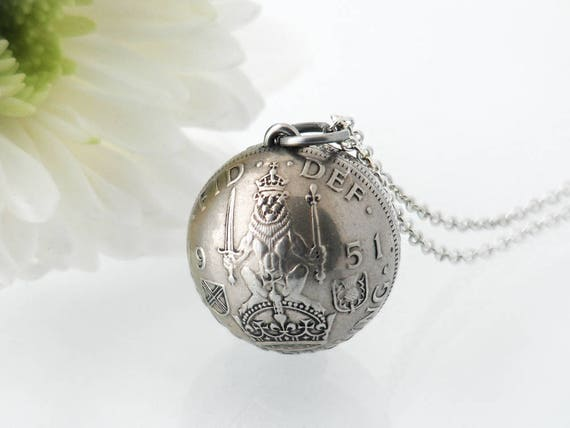 Vintage Silver Orb Pendant | 1951 Silver Shilling | United Kingdom, Scottish Crest Shilling Beaten Coin Pendant - 30 Inch Sterling Chain