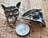 "2 Devil Face Buttons,Coat,Clock,Jacket,1  7/8"" X 1  1/2"",VTG White Metal with Black Finish,70's,Vampire,Fangs,Costume,Cape Clasp"