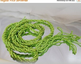 SALE Long Lariat Flapper Necklace.  Super Long 63 inch Green Glass Bead Lariat Flapper Style Vintage Necklace