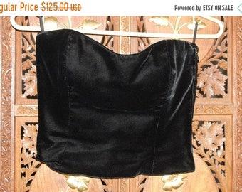 ON SALE Vintage 1970s Christian Dior Couture Black Velvet Bustier/Corset  Sz 36