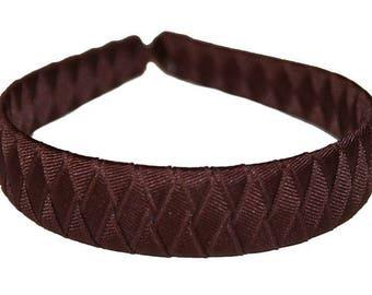 Custom Boutique Girls Woven Headband with Grosgrain Ribbon - BROWN