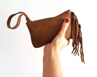 Fringes brown Leather pouch, Wallet, Small purse with Fringes