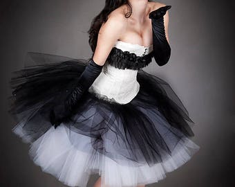 Custom Size Black and White  vintage inspired ruffle tulle Burlesque Retro Corset Prom Dress small-XL