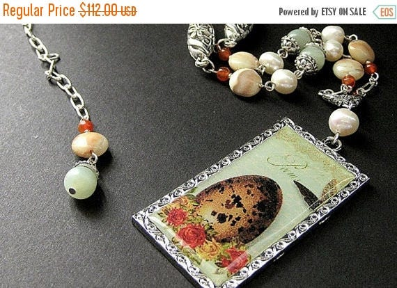 SUMMER SALE Ostrich Egg Necklace. Bird Nest Necklace. Gemstone Necklace in Jasper, Jade, Carnelian Agate, and Fresh Water Pearl. Beaded Neck