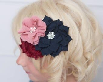 dusty pink clip, navy hair clip, pink flower clip, flower girl accessory, ivory hair clip, girl hair clip, burgundy hair clip, maroon clip