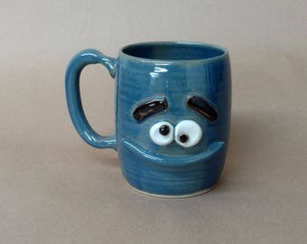 Big 16-8 Ounce Beverage Holding Apparatus. Unique Coffee Cup Hot Tea Mug in Cobalt Blue. Funny Puzzle Face Pottery Mug. Stoneware Beer Stein