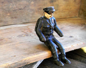 Vintage Metal Toy, Toy Car Driver, Toy Truck Driver, Toy Policeman 1940s 1950s Metal Toys, Metal Action Figure, Policeman Action Figure