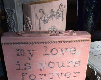 Decorative Altered Book Chalk Paint Handmade Clay Appliqué Romantic Victorian Scrap Wedding Decor French Country
