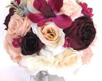 "Reserved listing Wedding Bouquets Bridal Bouquet 32 Piece Package Wedding Silk flower PEACH EGGPLANT SANGRIA Gray Plum  ""RosesandDreams"""