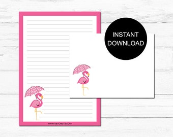 Stationery Set | flamingo splash | letter writing set | digital | instant download | printable