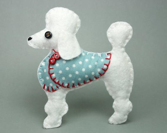 Poodle Christmas ornament White Poodle Felt dog ornament