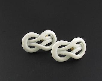 Monet Knot Earrings, Enameled Knot Earrings, White Knot Earrings, Nautical Earrings, Preppy Earrings, White Earrings