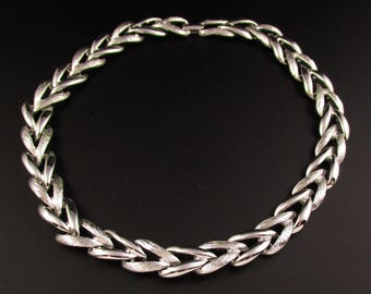 Monet Silver Link Necklace, Monet Necklace, Silver Choker Necklace, Silver Necklace