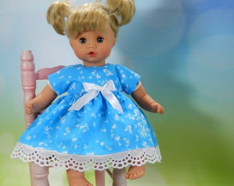 12 inch doll clothes made to fit dolls such as Corolle, Adora, Melissa & Doug, Turquoise Blue Butterfly Dress w/ Panties, 05-2118