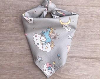Unicorn print dog bandana / unicorn / grey bandana / unicorn fabric / pet accessories / dog neckwear / dog clothes / bandana