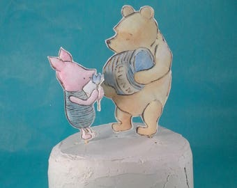 Classic Pooh bear cake toppers, fabric Winnie the Pooh, Piglet, Tigger, Eeyore party decoration H160