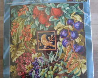 Janlynn #023-0155 Seven Species of Life Nancy Rossi Needlepoint Kit Bird Fruit Wreath Design Unused Sealed in Package
