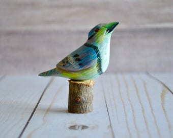 Vintage Hand Carved Hand Painted Miniature Wooden Bird Figurine