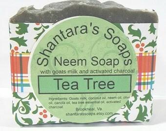 Neem Oil Soap, Facial soap, Tea Tree Essential Oil, Acne soap, Activated Charcoal, Black Soap, soap for eczema, acne wash