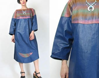 25% off Summer SALE 1980s Leather Dress Hand Painted Leather Art To Wear Dress Blue Leather Dolman Batwing Sleeve Dress Pullover Sac Dress (