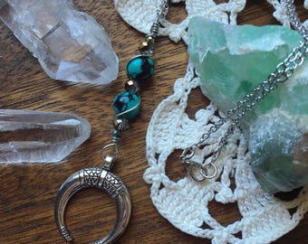 Crescent Wire Wrapped Drop Necklace