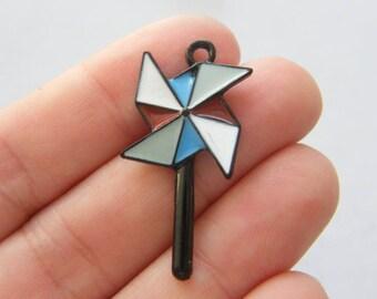 4 Windmill charms black tone P15