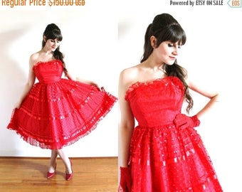 ON SALE 1950s Dress / 50s Dress / 1950s 60s Red Full Circle Skirt Polka Dot Tulle Party Dress