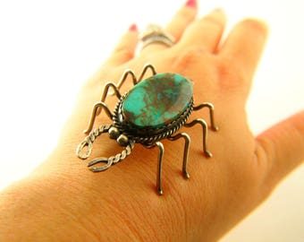 Turquoise Bug Brooch - Sterling Silver - Vintage Jewelry - Native American