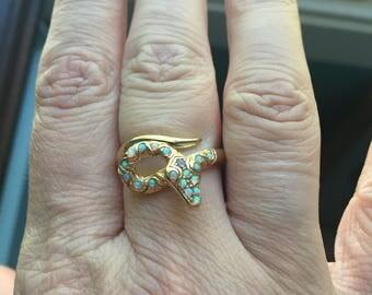 Opal Snake Ring- 9k Gold - Vintage