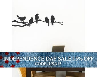 Independence Day Sale - Birds on a Branch Decal - Vinyl Wall Sticker