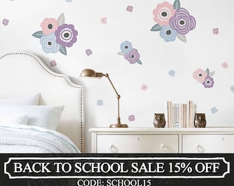 Kids Flower Wall Sticker, Pastel Blue and Lilac Blooms Wall Stickers - Peel and Stick Wall Stickers Kids Room Decor