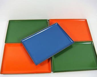 5 Lacquer Mid Century Trays Sushi Trays Serving Trays Hors d'oeuvres Trays