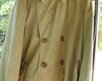 Vintage US Army Field Overcoat Trench Coat Size Medium 1950's Army Coat