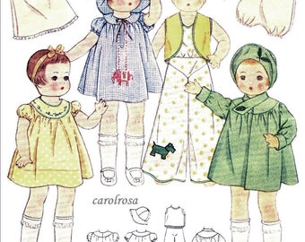 """Instant PDF Digital Download Vintage Sewing Pattern to make a Super Wardrobe or Selection of Clothes for 14"""" Patsy Dolls"""