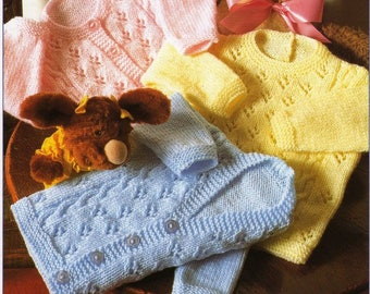 Vintage Knitting Pattern Baby Cardigans Jackets 16 - 24 in chest Birth to 4 years Gilr/Boy PDF download