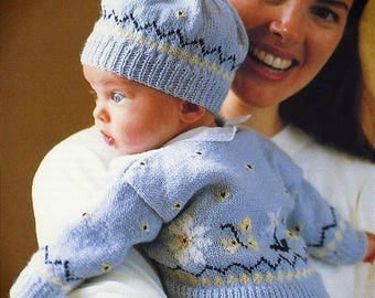 Instant digital download PDF Vintage Row by Row Knitting Pattern - Baby Fair isle Cardigan and Beanie Hat 3ply 0-6 months